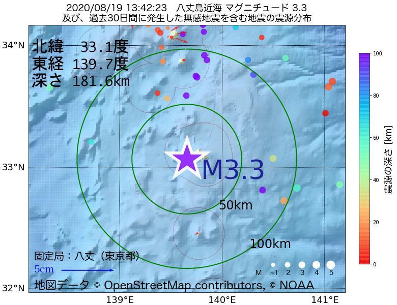 地震震源マップ:2020年08月19日 13時42分 八丈島近海でM3.3の地震