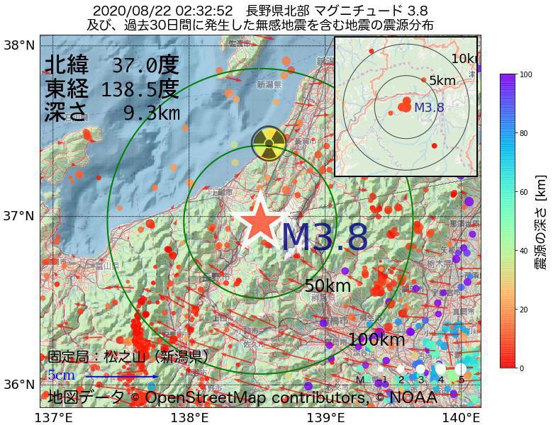 地震震源マップ:2020年08月22日 02時32分 長野県北部でM3.8の地震