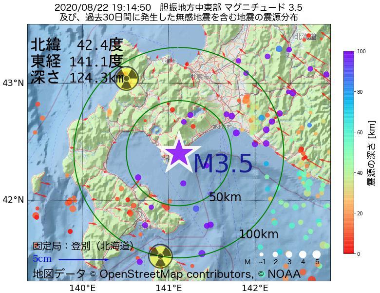 地震震源マップ:2020年08月22日 19時14分 胆振地方中東部でM3.5の地震