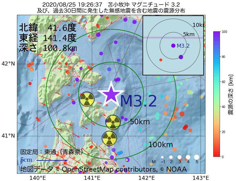地震震源マップ:2020年08月25日 19時26分 苫小牧沖でM3.2の地震