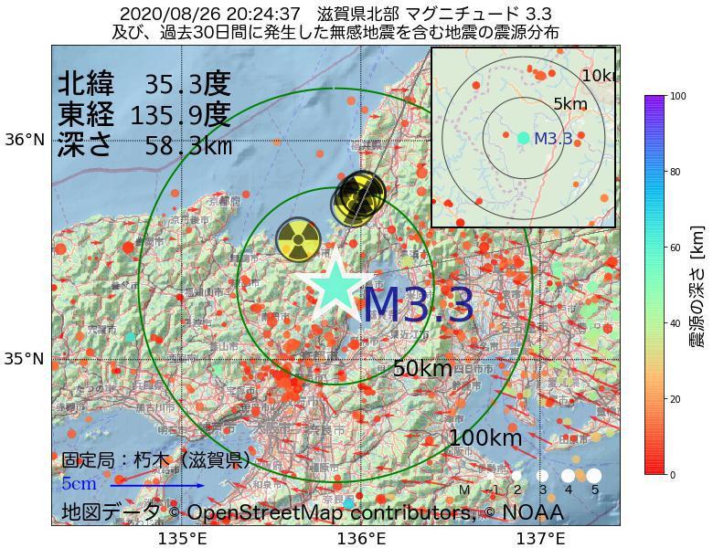 地震震源マップ:2020年08月26日 20時24分 滋賀県北部でM3.3の地震