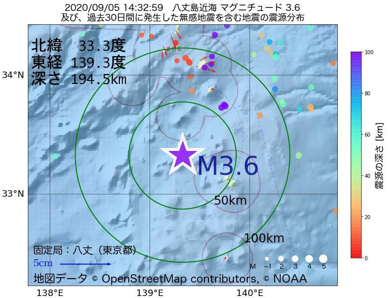 地震震源マップ:2020年09月05日 14時32分 八丈島近海でM3.6の地震