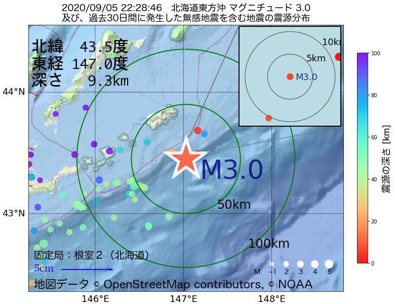 地震震源マップ:2020年09月05日 22時28分 北海道東方沖でM3.0の地震