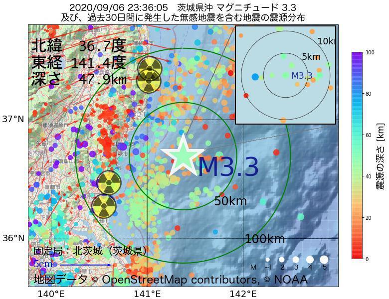 地震震源マップ:2020年09月06日 23時36分 茨城県沖でM3.3の地震