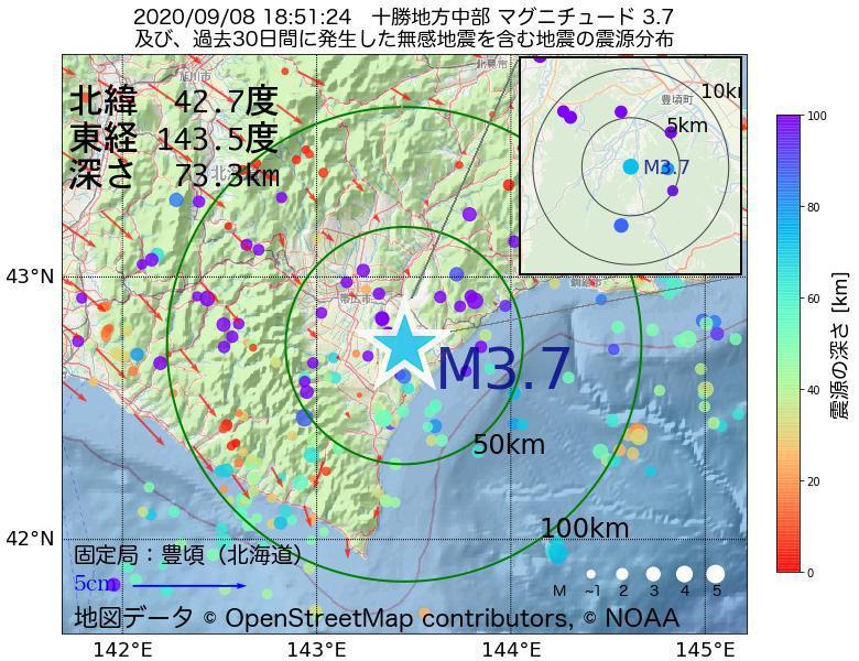 地震震源マップ:2020年09月08日 18時51分 十勝地方中部でM3.7の地震