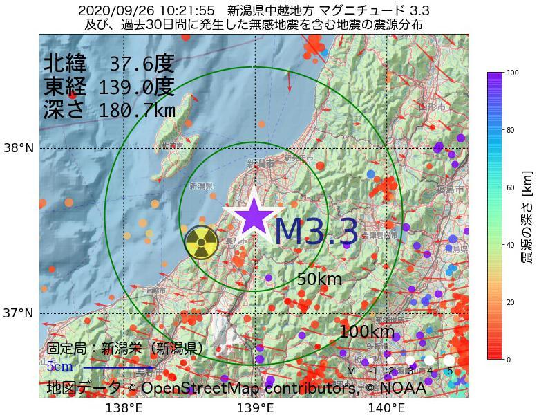 地震震源マップ:2020年09月26日 10時21分 新潟県中越地方でM3.3の地震