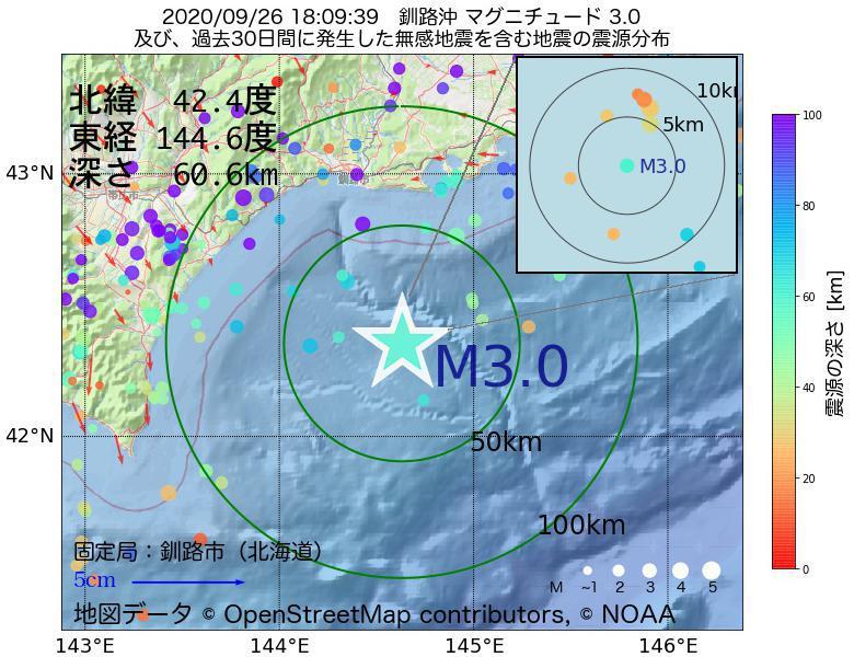 地震震源マップ:2020年09月26日 18時09分 釧路沖でM3.0の地震