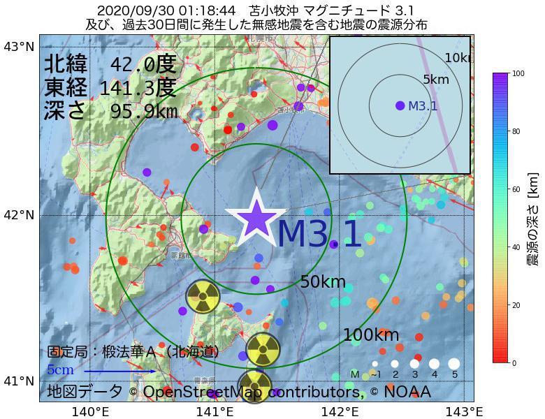 地震震源マップ:2020年09月30日 01時18分 苫小牧沖でM3.1の地震