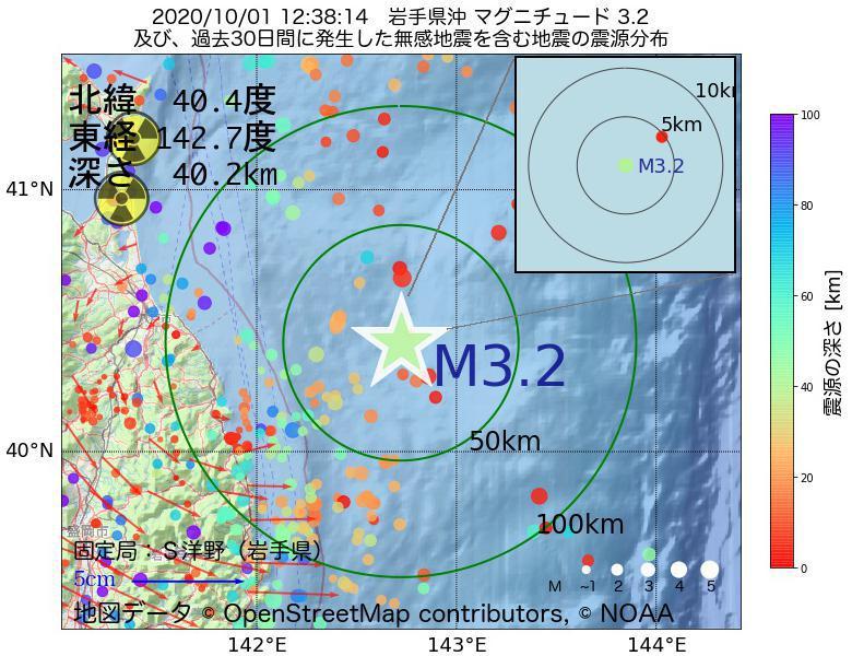 地震震源マップ:2020年10月01日 12時38分 岩手県沖でM3.2の地震