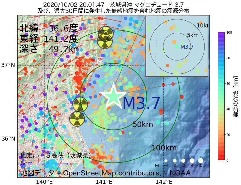 地震震源マップ:2020年10月02日 20時01分 茨城県沖でM3.7の地震