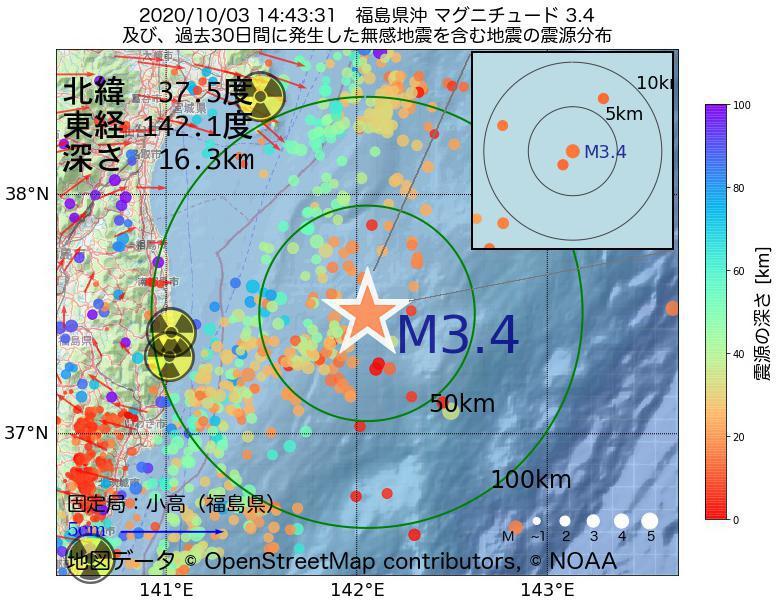 地震震源マップ:2020年10月03日 14時43分 福島県沖でM3.4の地震