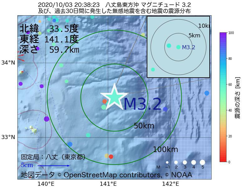 地震震源マップ:2020年10月03日 20時38分 八丈島東方沖でM3.2の地震