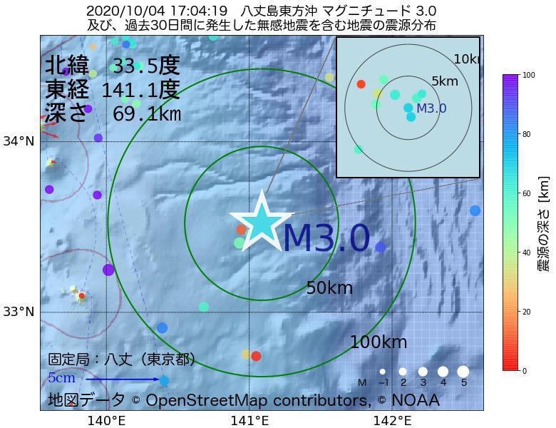 地震震源マップ:2020年10月04日 17時04分 八丈島東方沖でM3.0の地震