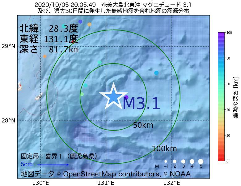 地震震源マップ:2020年10月05日 20時05分 奄美大島北東沖でM3.1の地震