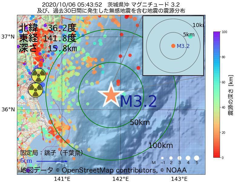 地震震源マップ:2020年10月06日 05時43分 茨城県沖でM3.2の地震