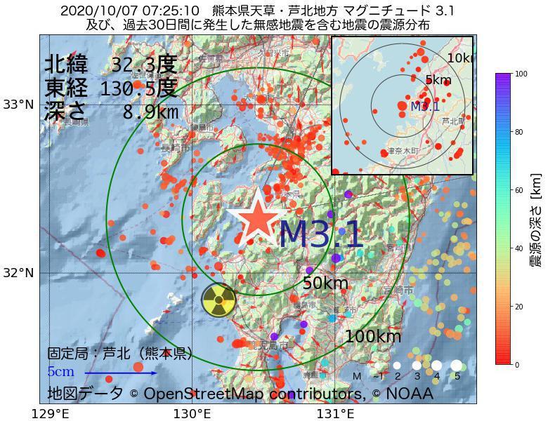 地震震源マップ:2020年10月07日 07時25分 熊本県天草・芦北地方でM3.1の地震