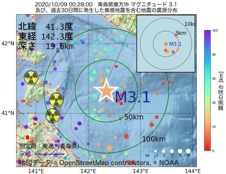 地震震源マップ:2020年10月09日 00時28分 青森県東方沖でM3.1の地震