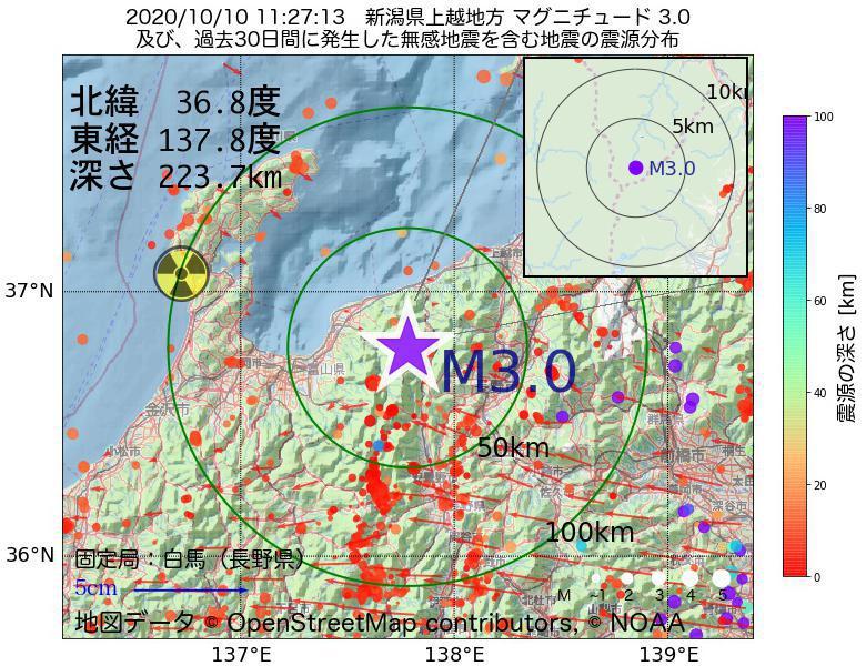 地震震源マップ:2020年10月10日 11時27分 新潟県上越地方でM3.0の地震