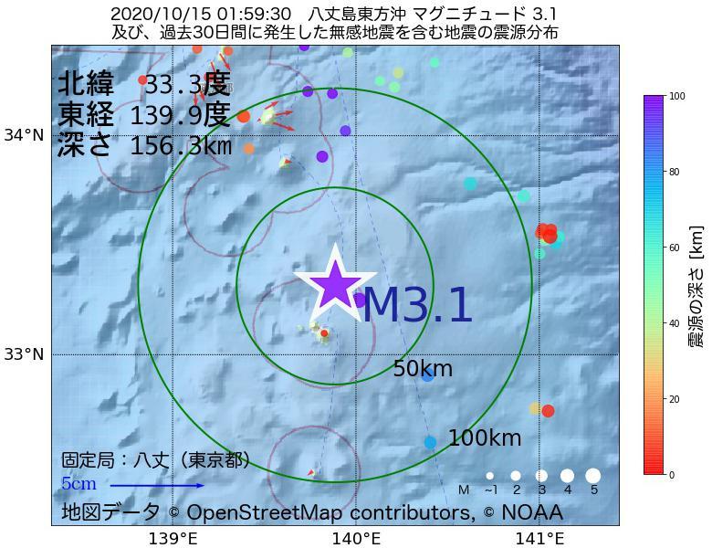 地震震源マップ:2020年10月15日 01時59分 八丈島東方沖でM3.1の地震