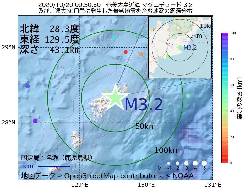 地震震源マップ:2020年10月20日 09時30分 奄美大島近海でM3.2の地震