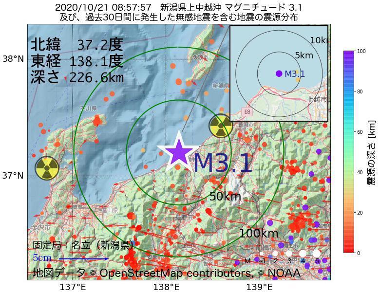 地震震源マップ:2020年10月21日 08時57分 新潟県上中越沖でM3.1の地震