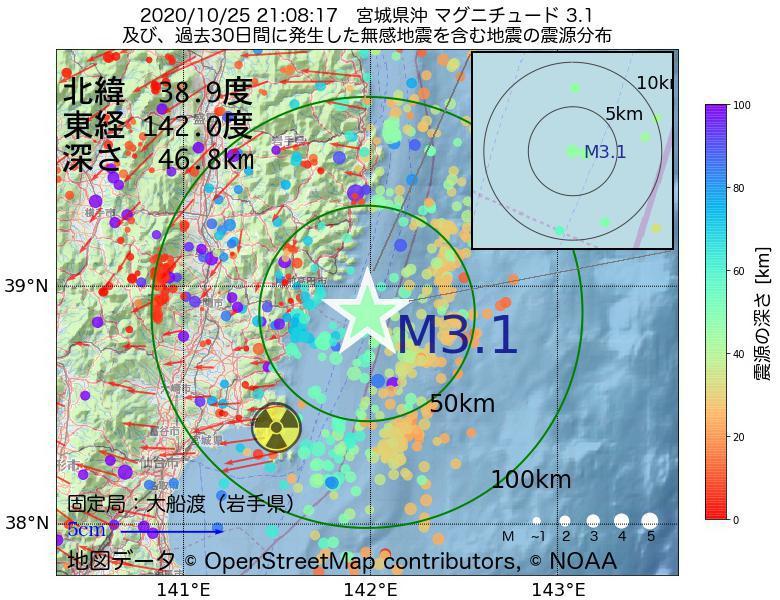 地震震源マップ:2020年10月25日 21時08分 宮城県沖でM3.1の地震