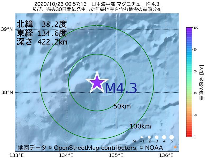 地震震源マップ:2020年10月26日 00時57分 日本海中部でM4.3の地震