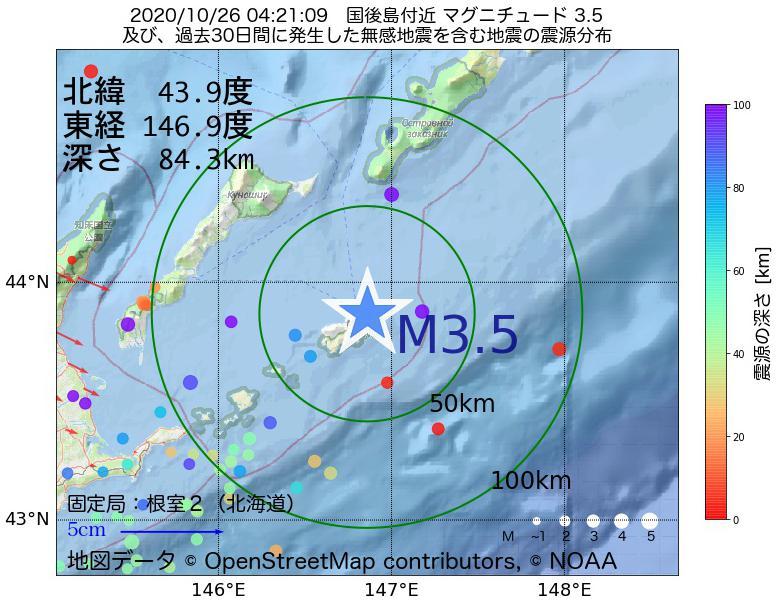 地震震源マップ:2020年10月26日 04時21分 国後島付近でM3.5の地震