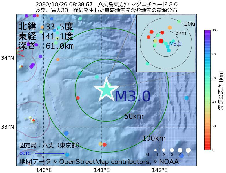 地震震源マップ:2020年10月26日 08時38分 八丈島東方沖でM3.0の地震