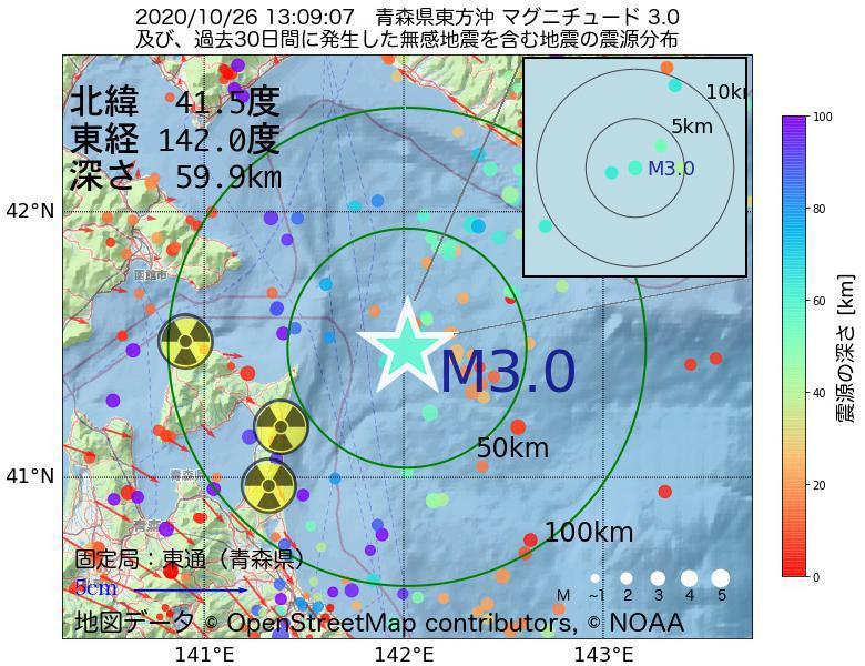 地震震源マップ:2020年10月26日 13時09分 青森県東方沖でM3.0の地震