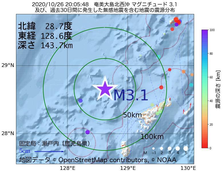 地震震源マップ:2020年10月26日 20時05分 奄美大島北西沖でM3.1の地震