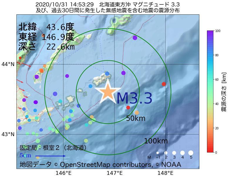地震震源マップ:2020年10月31日 14時53分 北海道東方沖でM3.3の地震