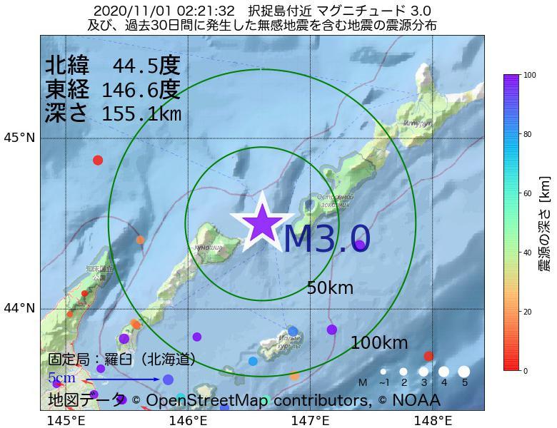 地震震源マップ:2020年11月01日 02時21分 択捉島付近でM3.0の地震