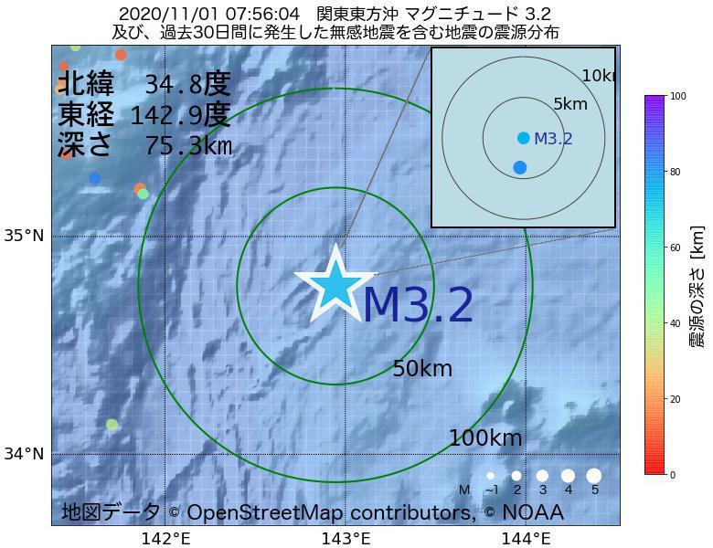 地震震源マップ:2020年11月01日 07時56分 関東東方沖でM3.2の地震
