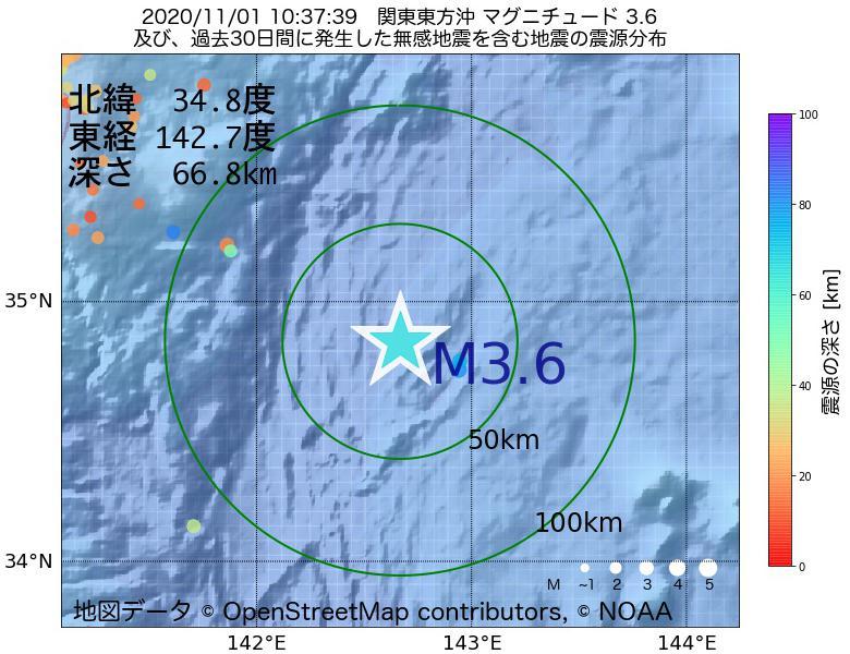地震震源マップ:2020年11月01日 10時37分 関東東方沖でM3.6の地震