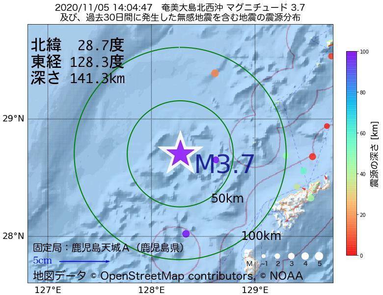 地震震源マップ:2020年11月05日 14時04分 奄美大島北西沖でM3.7の地震