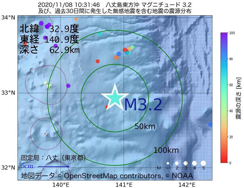 地震震源マップ:2020年11月08日 10時31分 八丈島東方沖でM3.2の地震