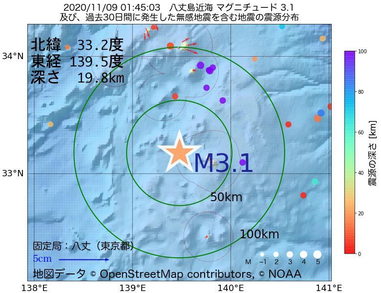 地震震源マップ:2020年11月09日 01時45分 八丈島近海でM3.1の地震