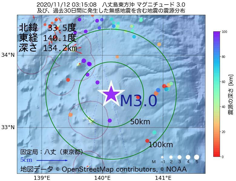 地震震源マップ:2020年11月12日 03時15分 八丈島東方沖でM3.0の地震