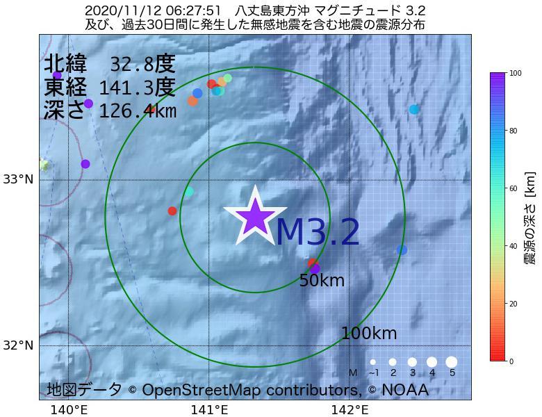 地震震源マップ:2020年11月12日 06時27分 八丈島東方沖でM3.2の地震