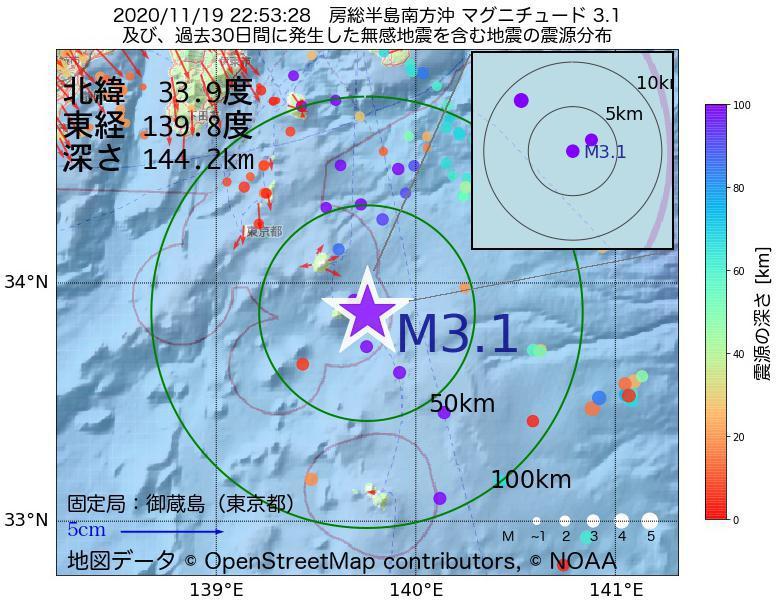 地震震源マップ:2020年11月19日 22時53分 房総半島南方沖でM3.1の地震
