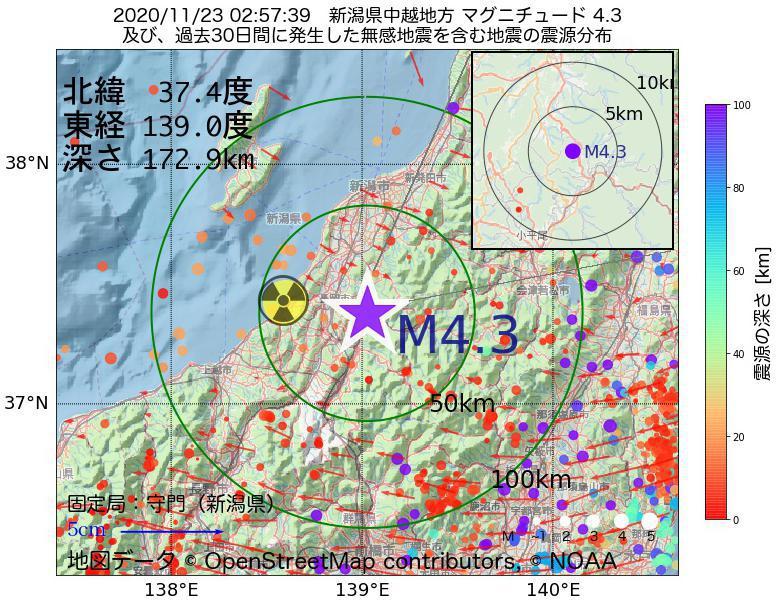 地震震源マップ:2020年11月23日 02時57分 新潟県中越地方でM4.3の地震