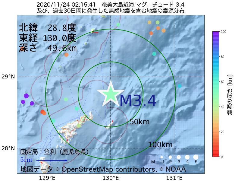 地震震源マップ:2020年11月24日 02時15分 奄美大島近海でM3.4の地震