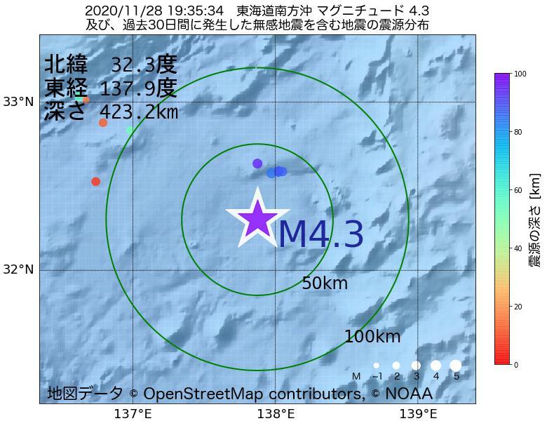 地震震源マップ:2020年11月28日 19時35分 東海道南方沖でM4.3の地震