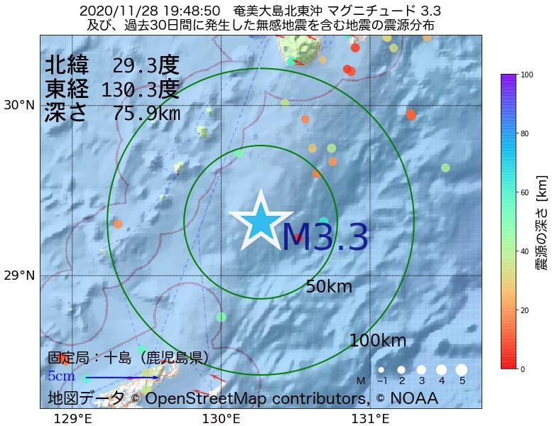 地震震源マップ:2020年11月28日 19時48分 奄美大島北東沖でM3.3の地震