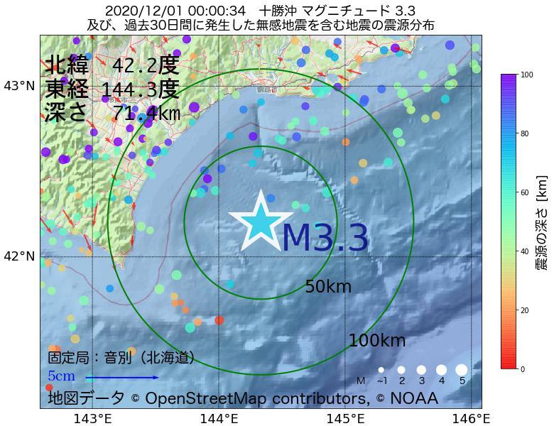 地震震源マップ:2020年12月01日 00時00分 十勝沖でM3.3の地震