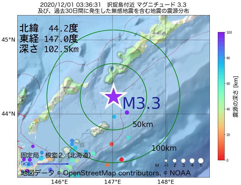 地震震源マップ:2020年12月01日 03時36分 択捉島付近でM3.3の地震