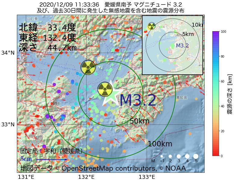 地震震源マップ:2020年12月09日 11時33分 愛媛県南予でM3.2の地震