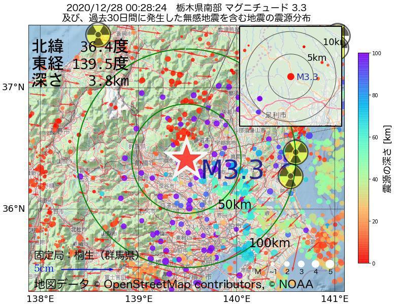 地震震源マップ:2020年12月28日 00時28分 栃木県南部でM3.3の地震