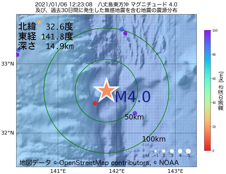 地震震源マップ:2021年01月06日 12時23分 八丈島東方沖でM4.0の地震